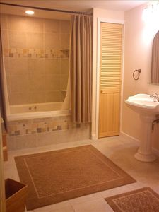 Full bath on lower level with jacuzzi tub