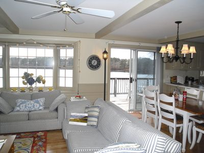 West Yarmouth house rental - great room offers a 180 degree unobstructed views of kettle pond