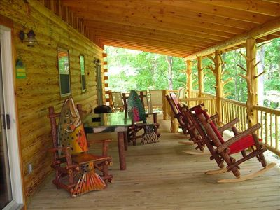 Beaver Lake cabin rental - custom furniture & gas grill on covered back deck