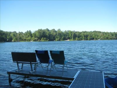 New private dock with bench on 100 feet of lakefront