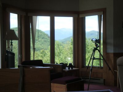 View Mt. Washington through Telescope from the Walk-in Bay Window in Family Room