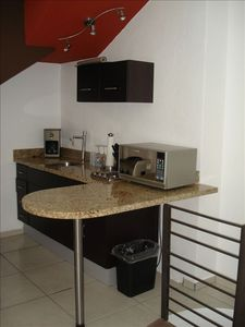 Full kitchen with grnite counter, coffee maker, Toaster, Microwave. All you need