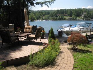Brick path leading to decks and dock - Bolton Landing house vacation rental photo