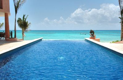 Overlooking infinity pool to the ocean