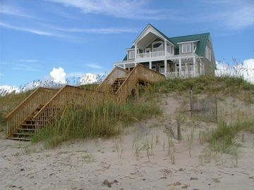 Dune and beach view of house