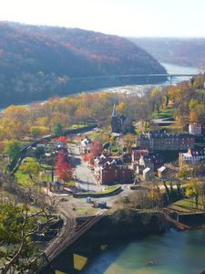 "Harpers Ferry - view from ""Maryland Heights"" hike above the Amtrak tunnel"