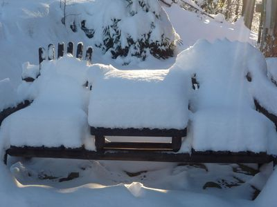 Shovel the snow and have a seat on the Cocktail Patio!!!