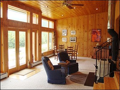 Warren house rental - Large windows overlook the meadow and