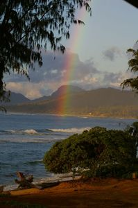 Kapaa condo rental - Beautiful rainbow taken from ocean lawn of complex.