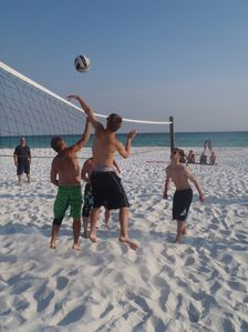 Volleyball court is a great hangout for teens!