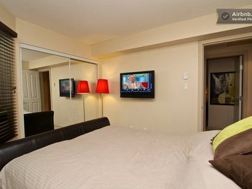 Guest room with movable LCD TV