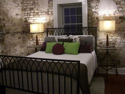 Mod Bedroom with exposed Brick Wall dating back to 1813