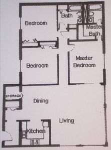 FLOOR PLAN FOR THIS 3 BEROOM 2 BATH UNIT