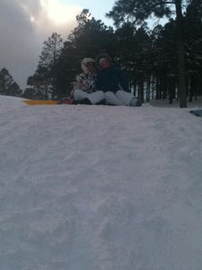 At the top of our sledding hill