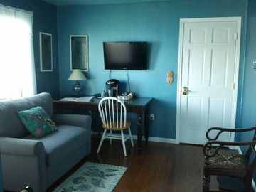 Kodiak house rental - Flat screen TV, wifi, and this loveseat folds out into memory foam bed.