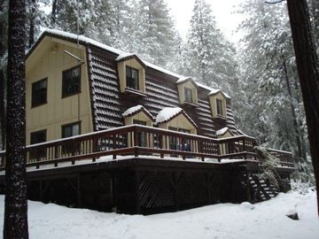 Volcano cabin rental - winter time at the cabin