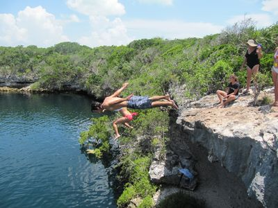 Jumping into the 'famous' Blue Hole