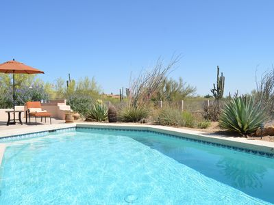 The pool with a view of the desert garden.