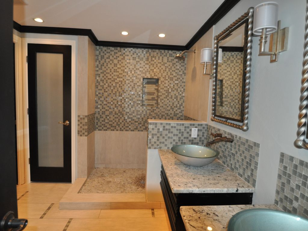 Newly remodeled Master Bath has spacious and open layout with modern fixtures