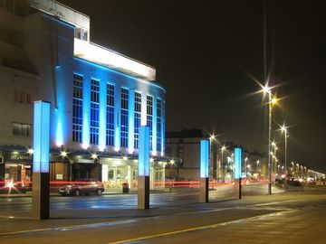 Marine Court and Light Installations at Night