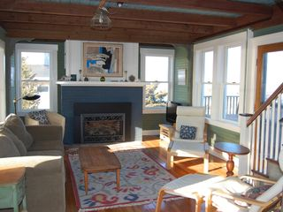 Gloucester - Annisquam house photo - Living room with gas fireplace and 2 ocean views