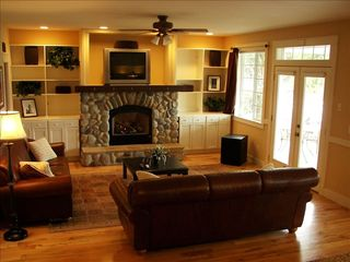 Poulsbo house photo - Great Room w/ gas fireplace, ent. system & Views, w/access to covered porches