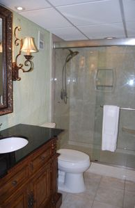 GUEST BATHROOM WITH NEW CULTURED MARBLE WALK IN SHOWER