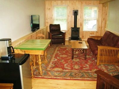Lake Placid chalet rental - Downstairs Living Area with Futon, TV, Gas Stove and Frig'
