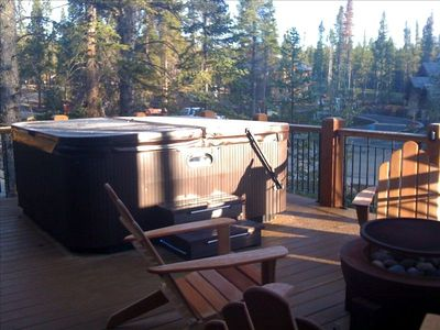 The Hotsprings hot tub is located on the main deck and has great views