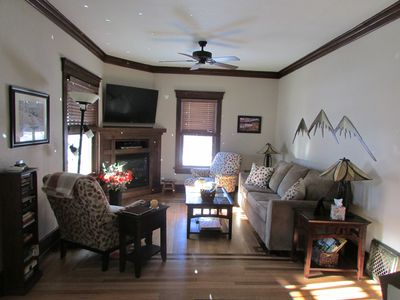 Our living room with flat screen TV comfortable seating. Queen size sofa bed