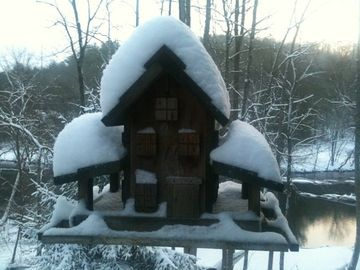 Our Bird House During A Snow Fall