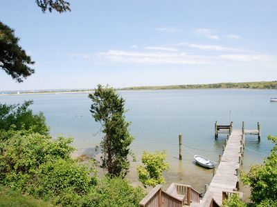 Vineyard Haven house rental - Stairwell down to the Private Dock with view of Tashmoo.