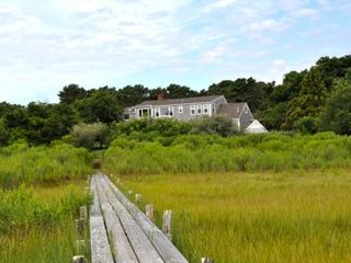 Katama house photo - Martha's Vineyard Rentals Katama Waterfront Rental: View of Home from Down Harbor Private Beach & Boardwalk