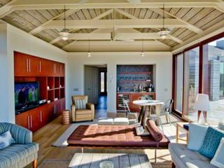 Chilmark house photo - In Additional To The Spectacular Views, Living Room Features Vaulted Reclaimed Hemlock Barn Board Ceiling, Multiple Entertaining Areas With Media Center & Wet Bar