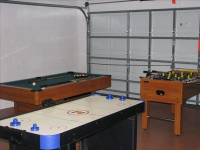 Gameroom with pool table, air hockey and foosball