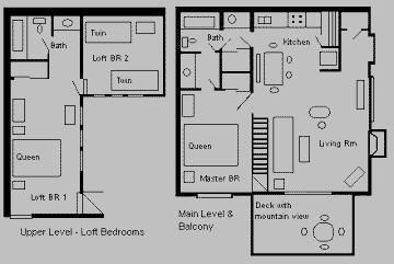 Floor plan - Full bathrooms on both levels.