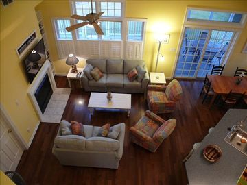 Great room w/ new furniture & TV and cozy gas fireplace for winter visits.