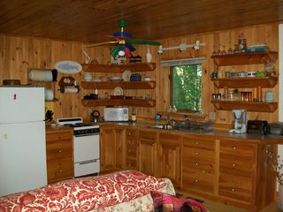 Damariscotta apartment photo - A fully equipped kitchen open to the living room.