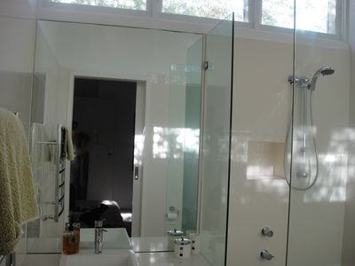 Ensuite with underfloor heating and heated towel rail