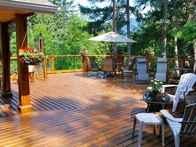 2000 sq ft deck overlooking inlet.