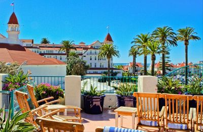 Sun Deck and View of Hotel Del Coronado at the Coronado Beach Resort