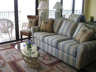 Seawinds condo photo - New sofa that actually has nice, soft stripes that just look Crazy in the photo!