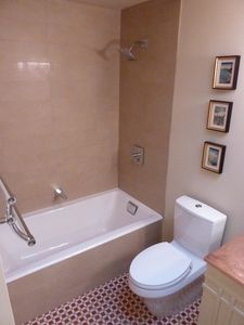 Hall bath with Kohler 'Tea for Two' tub comfortably fits 2 people