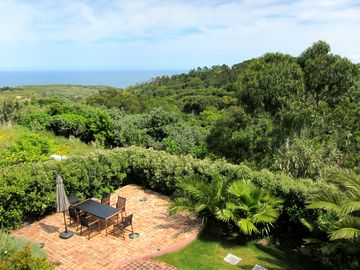 View from the terrace overlooking the patio garden and ocean