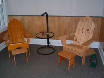 Kick your feet up and read your favorite book in the Adirondack Chairs