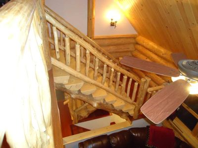Lamoine cabin rental - Down the log stairs to a cup of hot coffee on the porch in the morning!