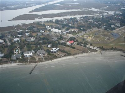 Aerial View of Home Next to Ft. Moultrie, See the Red Roof