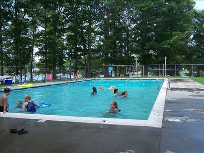 Pool, d-board, lake swim area, pier, boat slips, play ground and club area