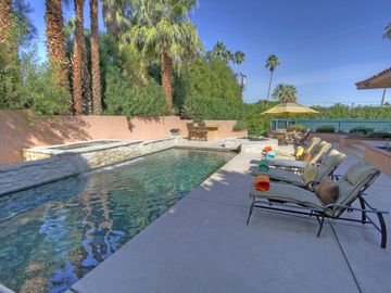 Palm Desert house rental - Very private saltwater pool you can swim laps in, sauna too