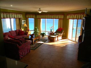 Pensacola Beach condo photo - Large family room breath taking panoramic views of Gulf